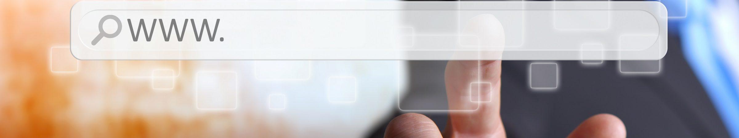 Man using tactile interface web address bar to surf on internet