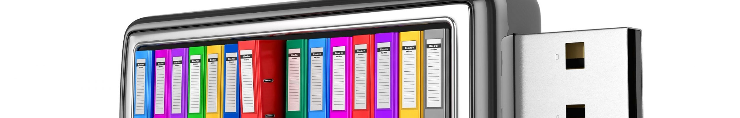 Multicolored office folder with documents inside a USB drive on a white background. 3D illustration.
